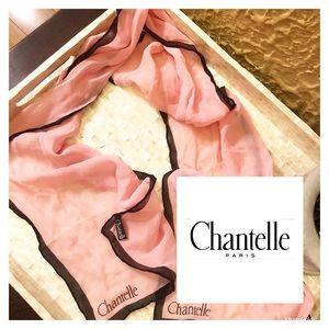 Vintage Chantelle Pink Silk Scarf 🌸